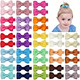Ruyaa Hair Bow Clip for Baby Girl Fully Covered Non Slip for Fine Hair Small 2 Inch Toddler Girl Hair Accessories Assorted Solid Color Kid Infant Barrettes 40pcs