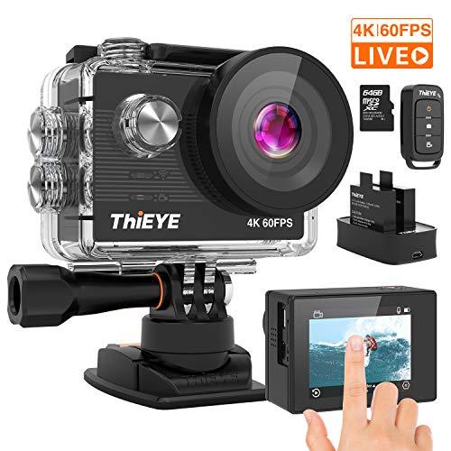 ThiEYE Action Cam T5 PRO Diretta Streaming 4K 60fps WiFi 20MP Rotazione 360° Grandangolare 170° 8 Volte Zoom 2.0\'\' Ultra HD Touch Screen 60M Subacquea con Telecomando 1100mAh Batterie Kit Accessori