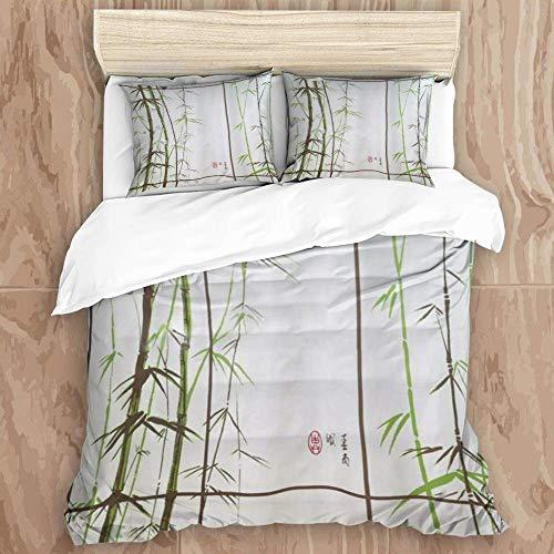 Juego de funda nórdica de 3 piezas de fácil cuidado y 2 fundas de almohada, obtenga forros de cortina de ducha de poliéster de bambú clásico naranja, elegante funda de edredón de microfibra de calidad