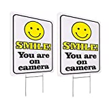 WaaHome 2 Pack Video Surveillance Sign with Metal Wire H-Stakes, 10''X14'' Funny Smile You're On Camera Signs Outdoor