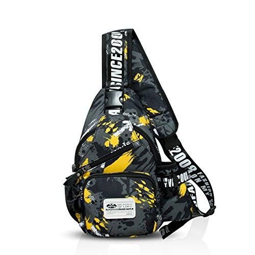 FANDARE Mode Sling Bag Rucksack Umhängetasche Brusttasche Messenger Bag Schultertasche Hiking Bag Daypack Crossbody Bag Chest Pack Sports Reisetasche Wasserdicht Polyester Camo