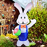 DREAM GARDEN 7 FT Easter Inflatable Party Bunny Decorations with Easter Egg Built-in LED Lights Blow Up Yard Lawn Inflatables Home Family Outside Decor