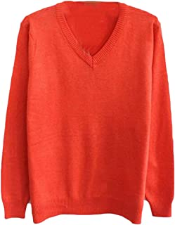 Men Slim Fit Business V Neck Long Sleeve Knitwear Pullover Sweaters Orange X-Small