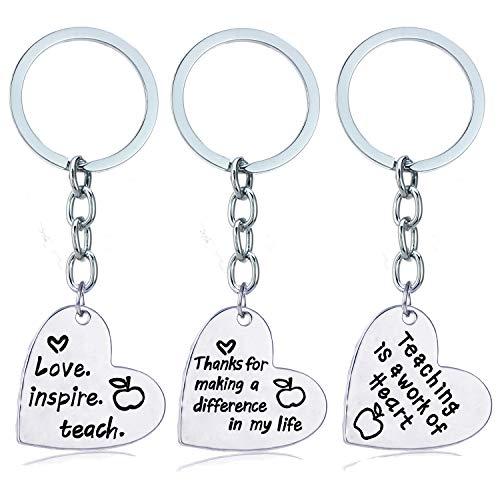 3PCs Teacher Appreciation Gifts Key Chain Teacher Gifts For Women Men Teacher Keychain (Heart Style 02)