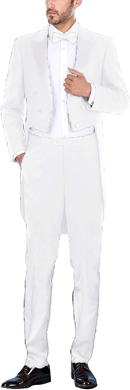 Frank Men's Suit Peaked Lapel Long Tail Wedding Prom Suits White