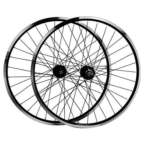 SJHFG Ciclismo Wheels 26'',Freno de Disco V Anillo de Freno Buje de Freno Disco Bicicleta de Montaña Llanta Aleación Aluminio Alta Resistencia Doble Capa (Color : Black)