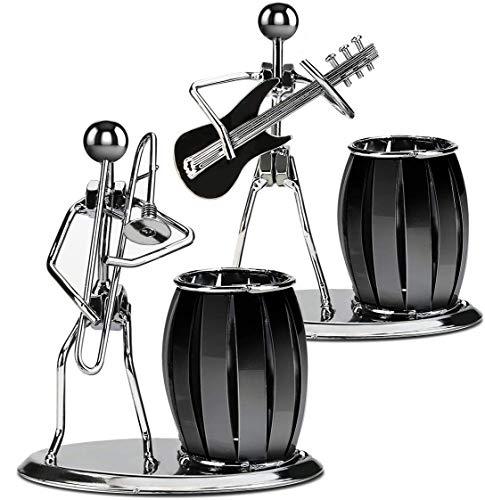 Zwini Portapenne, Set da 2, Portapenne Organizzatore Ufficio da scrivania Portamatite in metallo per ufficio scolastico fisso (1 pezzo di chitarra e 1 pezzo di trombone)