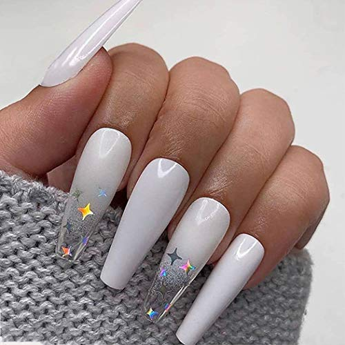 Boaccy Glossy Extra Long Coffin Fake Nails Butterfly Press on Nails Yellow Full Cover clear False Nails for Women Girls (White)