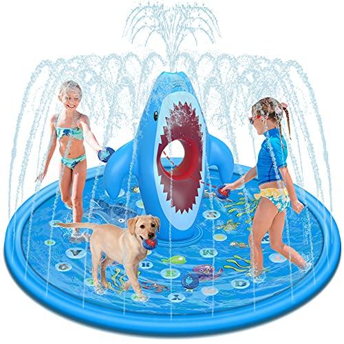 Tobeape Large Splash Pad für Kinder, Sprinkler Play Matte Outdoor Aufblasbare Garten Wasserspielmatte, von A bis Z Planschbecken zum Lernen, Spaß Wassersprühspielzeug Sommergeschenke im Babys