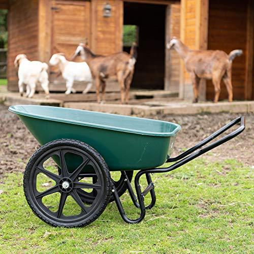 Garden Star 70030 Dual-Wheel Farm Barrow 6 Cubic Foot Wheelbarrow, 20' Flat-Free Tires, Green/Black