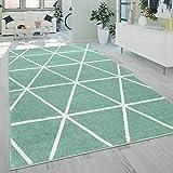Alfombra Salón Pelo Corto Moderna Diseño Geométrico Motivo Rombos Verde, tamaño:120x170 cm