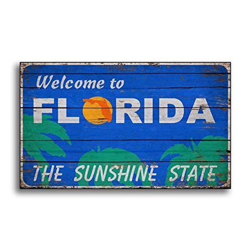 qidushop Holzschild Florida Welcome-Schild, Alter aus Holz, Sonnenschein, Landhausdruck, bedrucktes Schild, Wandschild, Geschenk, Hüttendekoration, Hängeschild