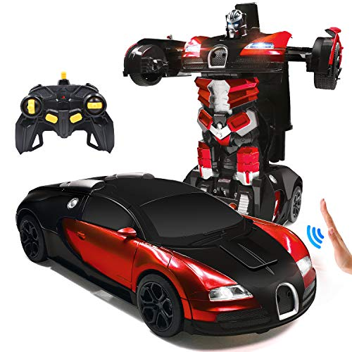 Trimnpy RC Cars Robot for Kids Remote Control Car Transformrobot Gesture Sensing Toys with One-Button Deformation and 360°Rotating Drifting 1:14 Scale , Best Gift for Boys and Girls (red)