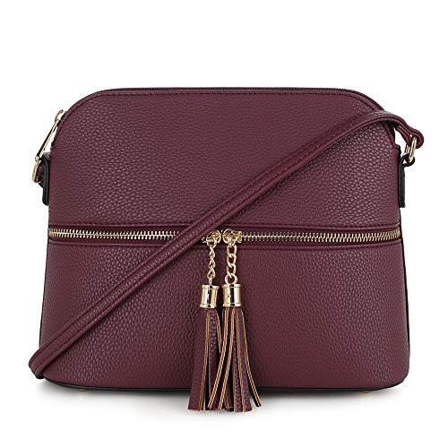 SG SUGU Lunar leichte mittelgroße Kuppeltasche Umhängetasche mit Quaste   Reißverschlusstasche   verstellbarer Riemen, Violett (wein), Einheitsgröße