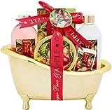 BRUBAKER Cosmetics - Coffret de bain - Poire à sucre/Pomme - 6 Pièces - Baignoire décorative - Doré/Rouge - Idée cadeau