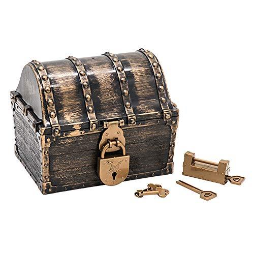 Cofre del Tesoro Pirata para niños, Juguete Pirata Grande de Color Antiguo de Madera, joyero de Almacenamiento con cerraduras Monedas Piratas Gemas Dinero para favores de Fiesta Accesorios dec