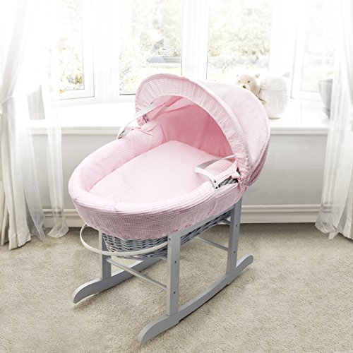 Pink Waffle Grey Wicker Padded Moses Basket & Deluxe Grey Rocking Stand