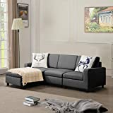 BOSSIN 77''Convertible Sectional Sofa Couch, Modern Linen Fabric L-Shaped Couch 3-Seat Sofa Sectional with Reversible Chaise for Small Living Room, Apartment and Small Space(Dark Gray)