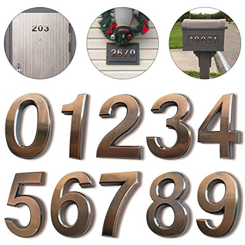 "HopeWan Mailbox Numbers, Apartment Door Number Stickers for Address House Sign, Raised 3D Style, Bronze brushed, 2-3/4IN High.(2.75"" 10 Pack (0-9), Bronze)"