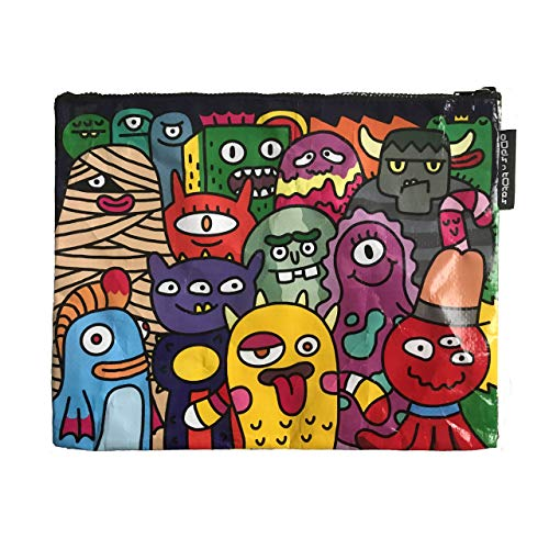 Jumbo Zipper Pouch Made from Recycled Material, Large Pencil Pouch for Adults, Cute Pencil Case, Waterproof Storage Pouch for Stationery, Book, Gym, Swimsuit, All-Purpose (Funny Monsters)