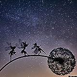SSLLH Gartenstecker Gartendeko,Fee und Löwenzahn Tanzende Mythologische Skulptur,Metall Statue Waldfee Metallgarten Terrassenfee Dekoration,Märchen Märchenskulptur Garten Holzsäulendekoration