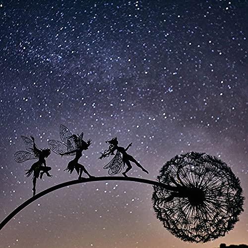 Rosennie Gartenskulpturen Silhouettenpfähle,Dekorativer Metallpfahl Fee mit Löwenzahn Blumenschild für Terrasse Weg, Rasen, Hof-Dekorationen, Gartenornamente (DREI Elfen)