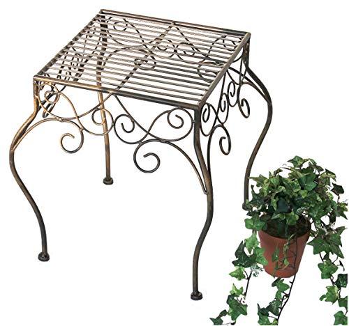 DanDiBo Blumenhocker Metall Braun Eckig 40 cm Blumenständer 140102 XL Beistelltisch Pflanzenständer Klein