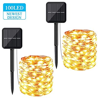 Solar String Lights Outdoor Decorative, BS ONE 100LED Solar Fairy Lights 33FT Waterproof Solar Rope Lights with 8 Lighting Modes for Home, Garden, Patio, Wedding, Parties and Christmas Decor,2Pack