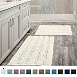(Set of 2) Super Thick Soft Striped Shaggy Chenille Bath Mats Machine Washable Bath Rugs Set for Bathroom, Dry Fast Water Absorbent Bath Mats, Ivory (Pack 2-20' x 32'/17' x 24')