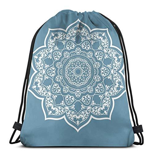 Drawstring Gym Bags Opbergtas, toilettas Ethnic Universe symbool Floral Mandala met veters Boho motief, zeer sterk premium kwaliteit Gym Bag voor volwassenen en kinderen