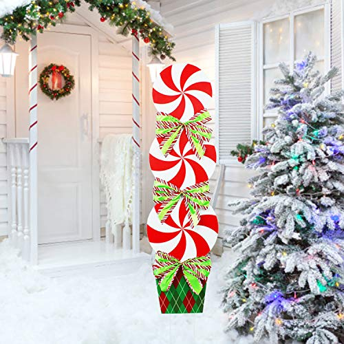 JSY-UP Candy Christmas Yard Signs with Stakes for Giant Holiday Home Lawn Yard Outdoor Decorations- 44In Peppermint Xmas Decor Yard Stakes