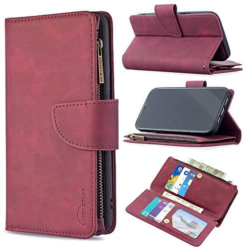Capa carteira com zíper XYX para Xiaomi Redmi Note 9 Pro/Note 9s/Note 9 Pro Max, 2 em 1 de couro com zíper destacável capa magnética com 9 compartimentos para cartão e alça de pulso, vermelha