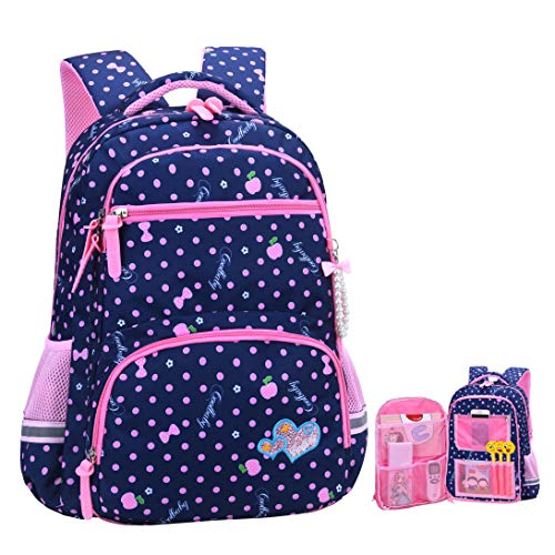 Girls Backpacks for Elementary, Polk Dots School Bag for Kids Primary Bookbags (Girls Backpacks for Elementary Navy Blue, Large for Grade 3-6)