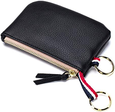imeetu Small Leather Coin Purse Dual Keyrings Change Pouch Card Wallet Black product image