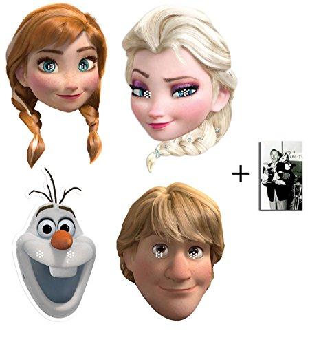 BundleZ-4-FanZ Fan Packs Frozen (Die Eiskönigin) Anna, ELSA, Olaf und Kristoff Karte / Pappe Partei Maske Packung von 4 - Enthält 6X4 (15X10Cm) starfoto