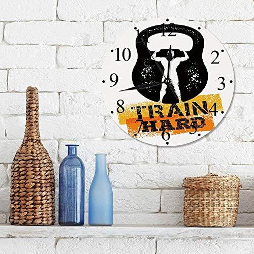 Silencioso Wall Clock Decoración de hogar de Reloj de Redondo,Fitness, envejecido Pantalla dañada Kettlebell Muscular Athletic Hombre Silueta Tren Duro D,para Hogar, Sala de Estar, el Aula