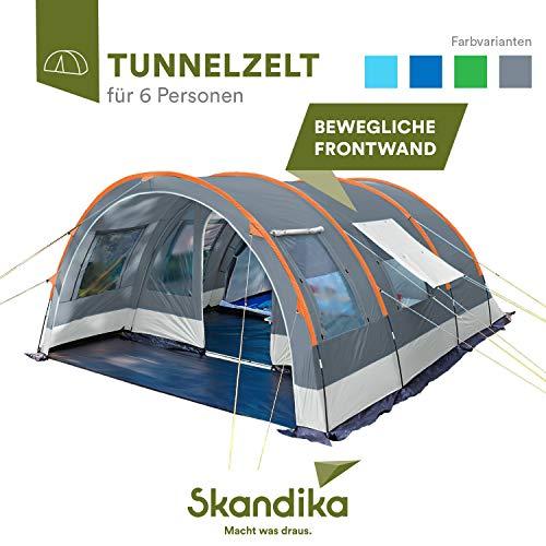 skandika Helsinki 6 Personen Familienzelt, Tunnel Gruppen Zelt mit Versetzbarer Vorderwand, Große Sonnendach, Organizer-Taschen, 5000 mm Wassersäule (grau)