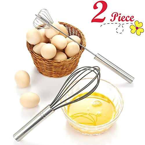 Chefaith 12' Stainless Steel Hand Push Whisk [Self Rotating] [Semi-Automatic] + Food-Grade Silicone Coated Wire Whisk as Bonus - Premium Quality & Ultra Durable Kitchen Whisks for Mixing, Blending