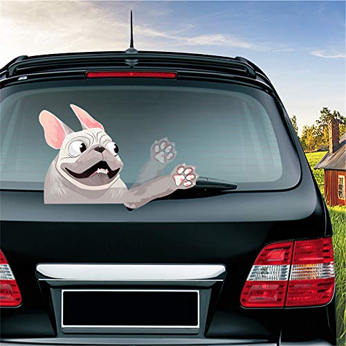 MIYSNEIRN Animal Rear Window wiper Decal French Bulldog Dog Pet Waving Wiper Sticker 3D Funny for Vinyl Bumper Windshield Sticker Waterproof Car Wiper Decal for Rear wiper Vehicle tags Decor (Gray)