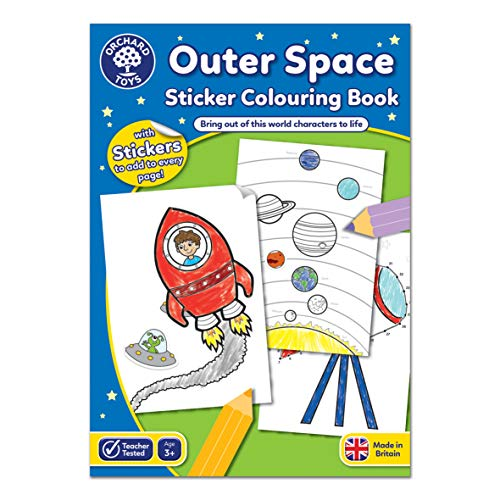Orchard Toys Outer Space Sticker Colouring Book - Educational Colouring Book - Space Colouring Book - 3 Years +, Multicolor, 21cm x 2cm x 29cm