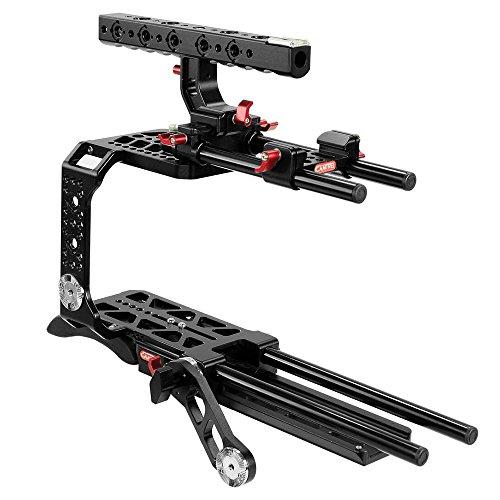 CAMTREE Hunt Professional Aluminiumkäfig für Blackmagic URSA Mini Videokäfig mit 15 mm Stangen, Schwalbenschwanzplatte und ARRi Griff Kompatibler Arm + Kompatibles Stativ (CH-BMUM-C)