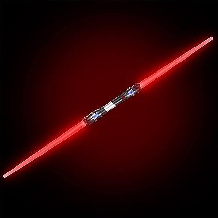 GOODS+GADGETS Sabre Laser à Double Lame Épée Laser 138 cm Épée avec éclairage et sonorisation (Rouge)