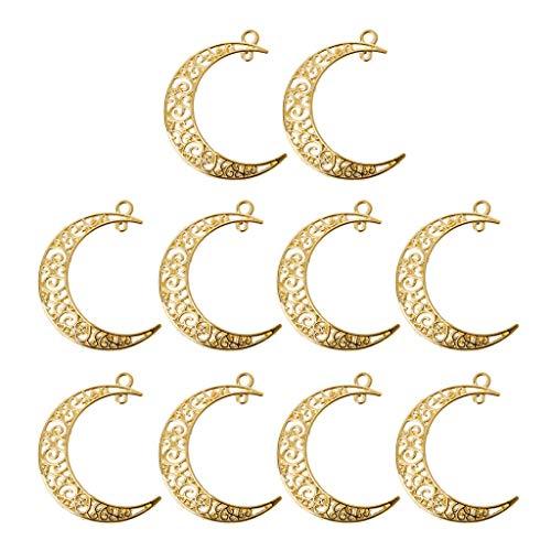 Boji Colgante de bisel, 10 unidades, Hollow Moon Crescent Símbolo de filigrana colgante DIY fabricación de joyas resina artesanal prensada joyas joyas