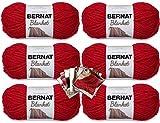 Bernat Blanket Yarn - 6 Pack with 8 Patterns (Cranberry)
