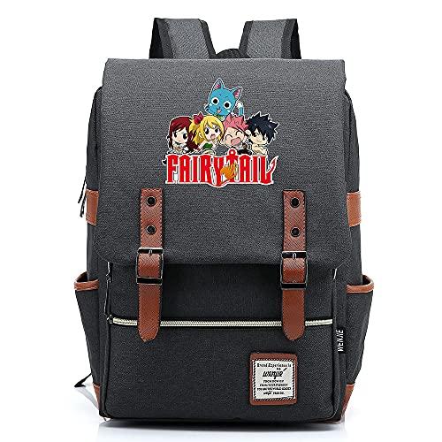 Hydxsjh Fairy Tail Mochila para Portátil De 16 Pulgadas Vintage para Portátil Anime Backpack Cartoon Animation,B