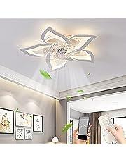 Tyst takfläkt med belysning LED-fläkt taklampa dimbar Fläktlampa, Modern kreativitets sovrums fläktljus med fjärrkontroll och APP för sovrum vardagsrum 3-växlad