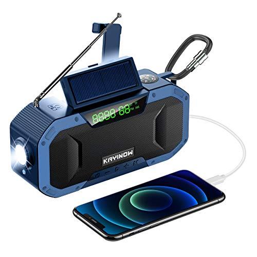 LAMA Radio solar 5000 mAh Bluetooth altavoz con pantalla LED BT TF AM FM 4 modos de emergencia Radio de manivela IPX6 con lámpara LED SOS, alarma brújula para exterior, senderismo, camping