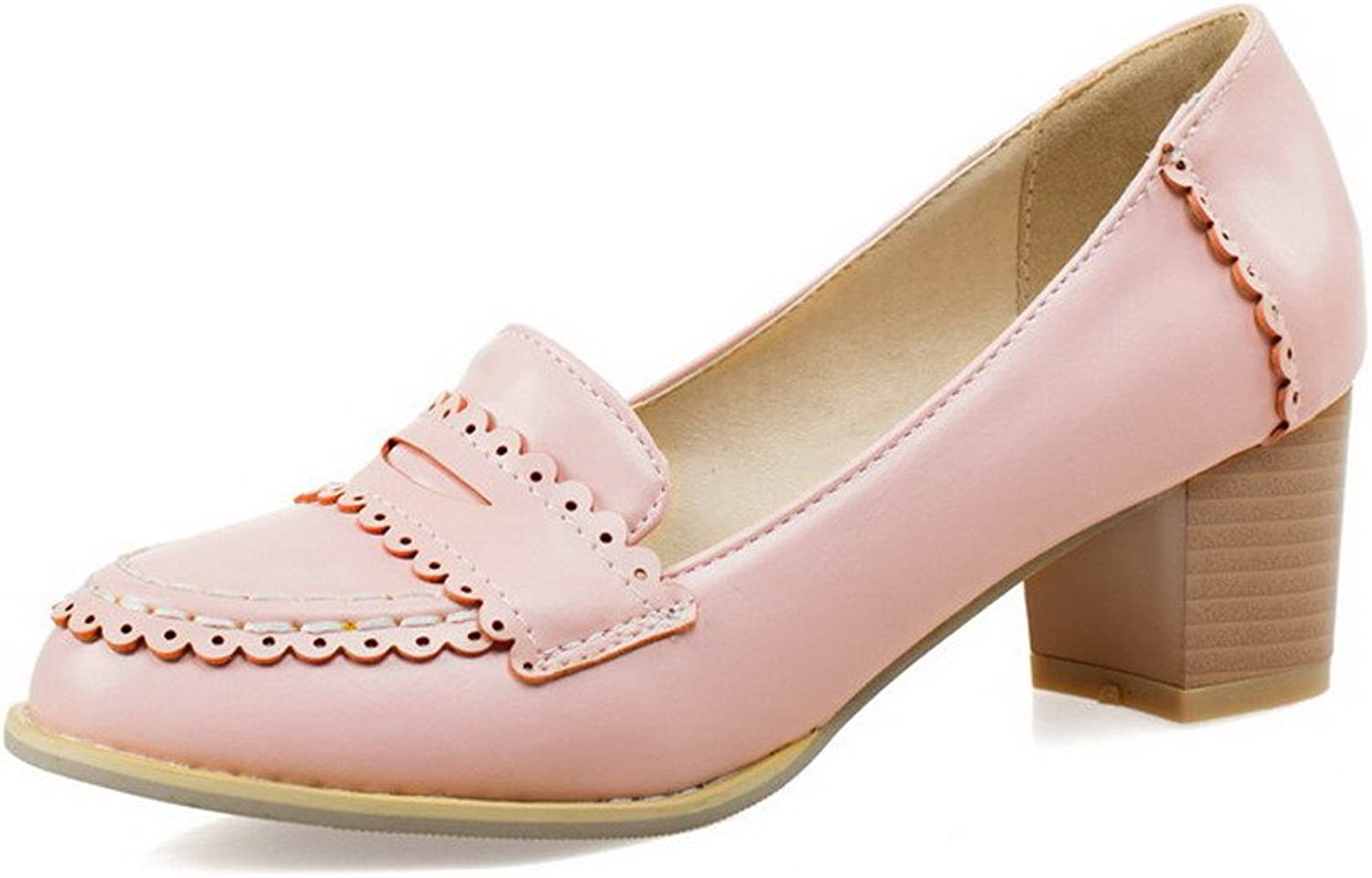 AllhqFashion Women's Soft Material Round Closed Toe Kitten Heels Pull On Pumps-shoes