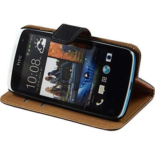 PhoneNatic Kunst-Lederhülle für HTC Desire 500 Wallet schwarz Tasche Desire 500 Hülle + 2 Schutzfolien
