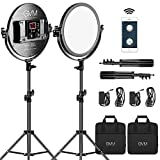 GVM 10.6-inch Bi-Color Round Lighting,LED Video Light kit with Light Stand Photography Lighting,APP Control for Studio/YouTube Game Video Shooting,30w 3200-5600K CRI97+(2 Packs)
